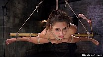 Spreaded legs babe in suspension submitted