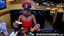 Msnovember Eating Real Food And Talking To Her Best Male Friend About World Of Warcraft In Public Diner , Flashing Her Big Natural Boobs With Puffy Nipples And Large Areolas , Squeezing Her Breasts Hard And Some Up Skirt Angles Reality Movie Porn صورة