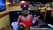 Msnovember Eating Real Food And Talking To Her Best Male Friend About World Of Warcraft In Public Diner , Flashing Her Big Natural Boobs With Puffy Nipples And Large Areolas , Squeezing Her Breasts Hard And Some Up Skirt Angles Reality Movie Porn