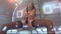 hot babe has trembling orgasms on dildo machine thumbnail