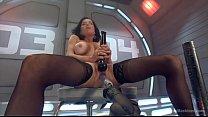 hot babe has trembling orgasms on dildo machine image