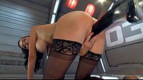 hot babe has trembling orgasms on dildo machine preview image