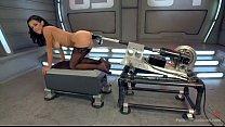 hot babe has trembling orgasms on dildo machine Vorschaubild
