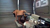 hot babe has trembling orgasms on dildo machine thumbnail
