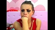 cam girl gags herself on a dildo camsluts666.com