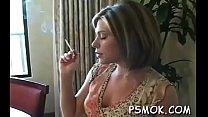 Juvenile slut in underware playing with herself while smoking pornhub video