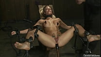 Bound blonde anal plugged in device