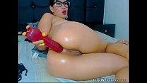 Latina dildoing her ass on webcam