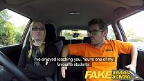 Fake Driving School Creampie for teen leaner with hairy pussy thumbnail
