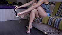 Showing my sexy long legs and feet صورة