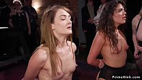 Two small tits sluts whipped in party