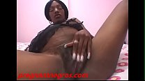 Big ass black pregnant whore gets pussy banged by white cock and cum on belly Image