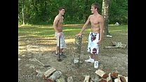 Cute gay boys with ants in the pants fuck outdoors