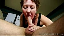 Super cute older lady loves to suck cock and eat cum thumbnail