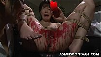 Pouring wax on her wet pussy and she loves the bdsm stuff thumbnail