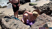Voluptuous blonde sunbathing nude on the beach fucks passer-by - Erin Electra