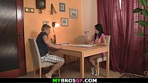 He finds cheating brunette gf riding another cock