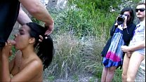 Cute Tahitian chick is experimenting first double penetration outdoors