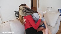 Hot busty lesbian MILF has sex with petite teen Gina Gerson image
