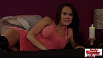 Slutty british babe watching loser jerk off