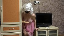 Pregnant milf fucks with dildo through panties and shakes natural tits. preview image