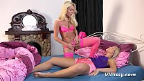 Lesbian Pissing - Hot blondes get drenched and lick each others pee