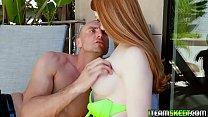 Sugar Daddy licks Scarlett Snows teen pussy from behind! Image