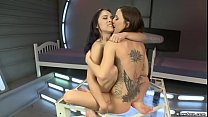 Lesbians licking and fucking machines