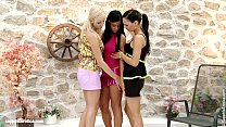 Hot big tit lesbians engage in hot threeway action outdoors by Sapphic Erotica