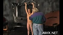 Hot scenes of rough bondage on busty babe's bawdy cleft porn image