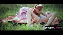 Lesbian sex with two busty pinup housewives outdoor