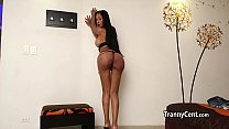 Cute sheshaft plays with cock solo