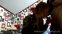 Russian slut blonde loves bigger cocks.Sucks and jerks off cock and gets cum in mouth thumbnail