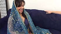 Chubby indian girl is doing her first porn casting and starts with a double decker