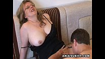 Busty amateur Milf sucks and fucks with cum on tits preview image