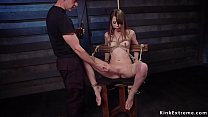 Gagged brunette fucked in threesome bdsm