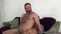 Inked bear has hairy asshole rammed with multiple cocks