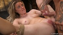 Bound blonde is fucked and cummed