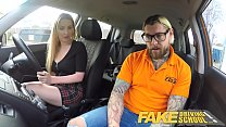 Fake Driving School Fake instructors hot car fuck with busty blonde minx Image
