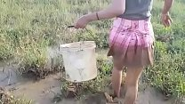 Beauty girl  Catching Fish By hand