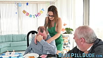Old man fucks a seductive young babe for his bi...