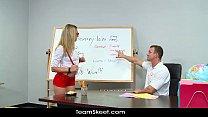 InnocentHigh Young blonde schoolgirl Bailey Blue classroom sex