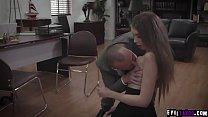 Sexy teen dauther Elena Koshka got double fucked by her evil stepdad Steve Holmes and his horny boss Chad Alva.