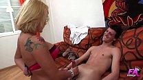 Spanish blonde psychologist sucks and fucks her young and shy patient