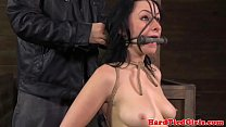 Tied up sub nipples punished with clamps video