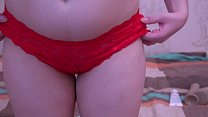 Girl in red panties masturbates her ass and pussy