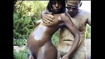 Chocolate enceinte floozies Climaxxx got her body oiled and  tight arse polished with massive white tool on the steamer chair