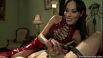 Shemale domme anal fucks bound man