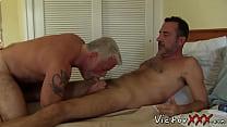 Tattooed old hunk having bareback with boyfriend