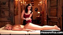 Massage therapist giving her patient some unknowing love 22